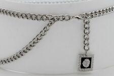 Women Prom Belt Silver Metal Chain Lion Charm Skinny Waistband Plus Size XL XXL