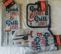 """Oven Mitt - Pot holders  & TOWEL """"Good Times And Grill Lines"""" kitchen 4pc Set"""