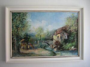 A. Hezinger, Bild Alte Wassermühle, Öl auf Leinwand, um 1960