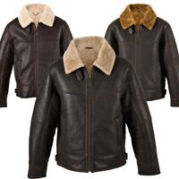 Mens Aviator Finished Genuine Leather and Sheepskin Jacket with Centre Zip