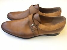 GUCCI Mens Leather Suede Monk Strap Buckle Loafer Brown Sz UK 8.5 (9 US) $625 *