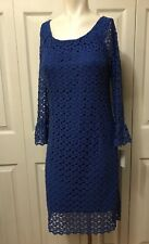 NWT Rabbit Rabbit Rabbit Crochet Lace Dress Size 10 Blue Bell Sleeve