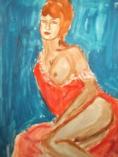 Vintage expressionist watercolor painting nude female portrait