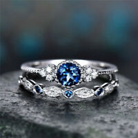 2Pcs Fashion 925 Silver Round Cut Sapphire Women Wedding Ring Jewelry Size 6-10