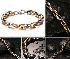 Mens Tri-color Stainless Steel Collar bone Link chain Bracelet Heavy Huge 8.5''