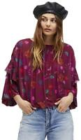 Free People Wildflower Honey Blouson Peasant Top XS Berry Combo Floral NWT $78