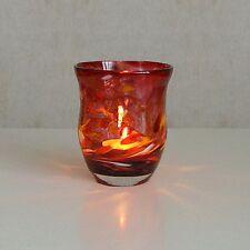 Windlicht Glas Dekoration Teelicht Rubinrot mit buntem unikatem Motiv