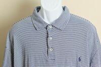 Polo Ralph Lauren Men's blue and white striped Pima Soft Touch polo shirt 3XB