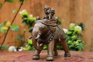 Antique War Elephant Statue Brass Home Decor Animal Sculpture Idol Vintage Old