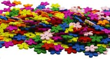 50 Flower Buttons Colorful Wood Jewelry Making Sewing Supplies Assorted Lot 15mm