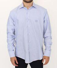 NWT $300 CLASS ROBERTO CAVALLI Light Blue Cotton Long Sleeve Casual Shirt s. XXL