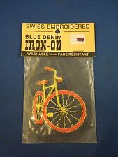 Vintage Swiss Brand Blue Denim Yellow with Orange Tires Bicycle Iron On Patch