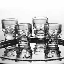 4 x Skull Head Shot Glasses Drinking Glass Bar Ware Drinks Party Fun Novelty