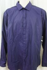 Alfani Mens Casual Shirt Sz L Solid Purple Lily Business Button Down Front Shirt