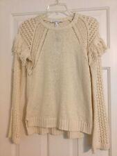 Womens Juniors BCBGeneration Off-White/Cream Sweater With Fringe Size XS
