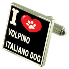 I Love My Dog Silver-Tone Cufflinks Volpino Italiano