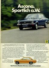 Opel-- Ascona -- Sportlich a.W. -- ab Werk -- Blau/Orange -- Werbung von 1973 -