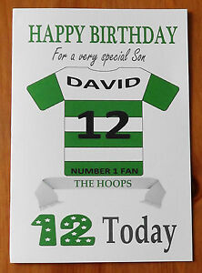"""CELTIC FAN Unofficial PERSONALISED Football Birthday Card (""""THE HOOPS"""")"""