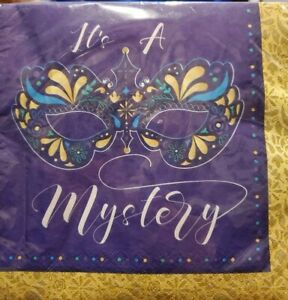 """Mardi Gras Masks Luncheon Napkins 16 count """"It's a Mystery"""" 2-ply Napkins"""