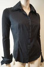 Anne Fontaine Schwarz Alison Pima-Baumwolle Kragen Bluse Shirt Top fr38 uk8