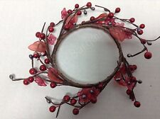 "Shiny Red berry 7"" candle ring county silver accent berries pink flowers"
