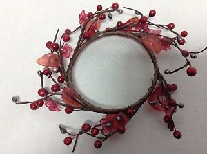 """Shiny Red berry 7"""" candle ring county silver accent berries pink flowers"""