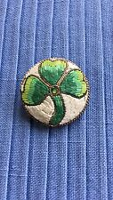 "ANTIQUE MICRO MOSAIC BEADED THREE LEAF CLOVER Shamrock PIN BROOCH 1"" W"