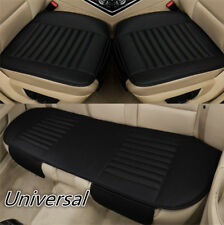 Black Leather SUV Car Seat Cushion Sedan Limo Chair Cover Protector Universal 3x