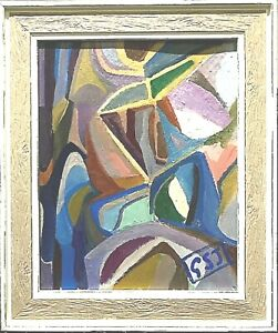 British Abstract Avant-Garde framed oil painting - signed George St John