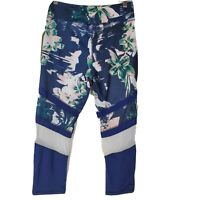 NWT Daisy Fuentes Womens Navy Blue Floral Capri Workout Running Yoga Leggings M