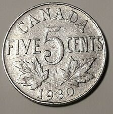 1930 CANADA  5 Cent Nickel Coin KING GEORGE V
