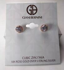 Giani Bernini 18K Rose Gold over Sterling Silver Crystal Halo Earrings - New