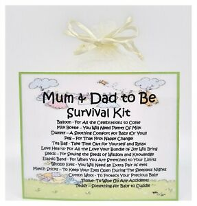 Mum and Dad to Be Survival Kit - Novelty Gift Card Keepsake Congratulations