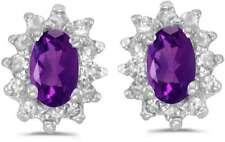 10 Quilates Oro Blanco Ovalado Amatista & Diamante Pendientes e6410w-02
