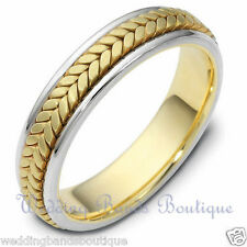 18K WHITE & YELLOW GOLD MEN WEDDING BAND BRAIDED WOOVEN MAN COMFORT FIT RING 5MM