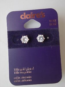 NEW CLAIRES 18CT ROSE GOLD PLATED CUBIC ZIRCONIA STUD EARRINGS