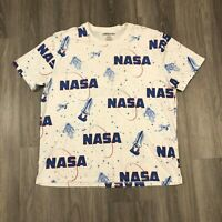 Chemistry NASA Mens 2XL White All Over Print T Shirt Cotton Poly Blend