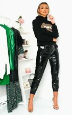 NEW Wet Look PU PVC Shiny Black Faux Leather Look Trousers Pants Joggers 8-10