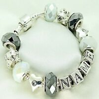 Personalised Jewellery Women Girls White Silver Bracelet ANY NAME Christmas Gift