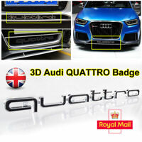 for Audi QUATTRO Black Grill Badge Logo Emblem RS5 A4 A6 A8 S3 S5 Q5 Q7 TT R8