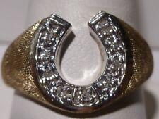 Men's 10k Gold Horse Show Ring Pave Set Single Cut Diamonds Vintage Good Luck