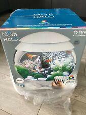 BiOrb HALO White Aquarium 15L Fish Tank Set Up with Multicoloured LED Remote