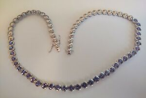 """Amethyst gemstone sterling silver lariat  necklace 925--18"""" Long  ((A7))"""