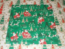 VTG CHRISTMAS WRAPPING PAPER GIFT WRAP DENNISON 1950 NOS SANTA SLEIGH ROOF TREE