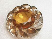 Vintage Marvella Goldtone Domed Circle Brooch with Lg. Amber Cut Rhinestone