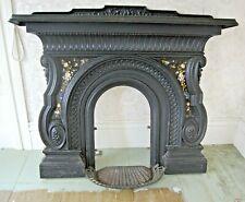 Antique Cast Iron Fireplace Mantel with Eglomise- Hiram Tucker