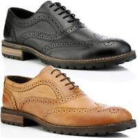 MENS REAL LEATHER LACE UP CASUAL OFFICE SMART LONDON FORMAL BROGUES SHOES SIZE