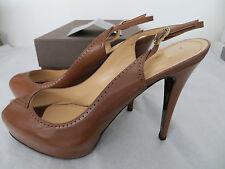 £295 Ladies Designer Shoes Nando Muzi Tan Peeptoe Slingbk Stiletto Heel UK8 EU41