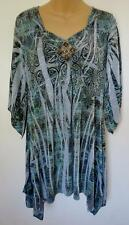 One World Womens L Large Top Shirt Tunic Blouse Beaded Sublimated Long Boho