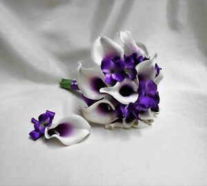 Wedding Purple Real Touch Picasso Calla Lily Hydrangeas Bridal Bouquet set